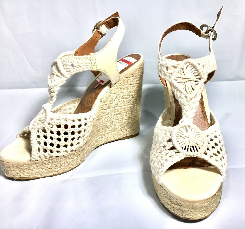 1f6b2c31ebd Lucky Women s Rilo Boho Wedge Sandals Ivory Cream Crochet Macrame Size 8.5  M  LuckyBrand