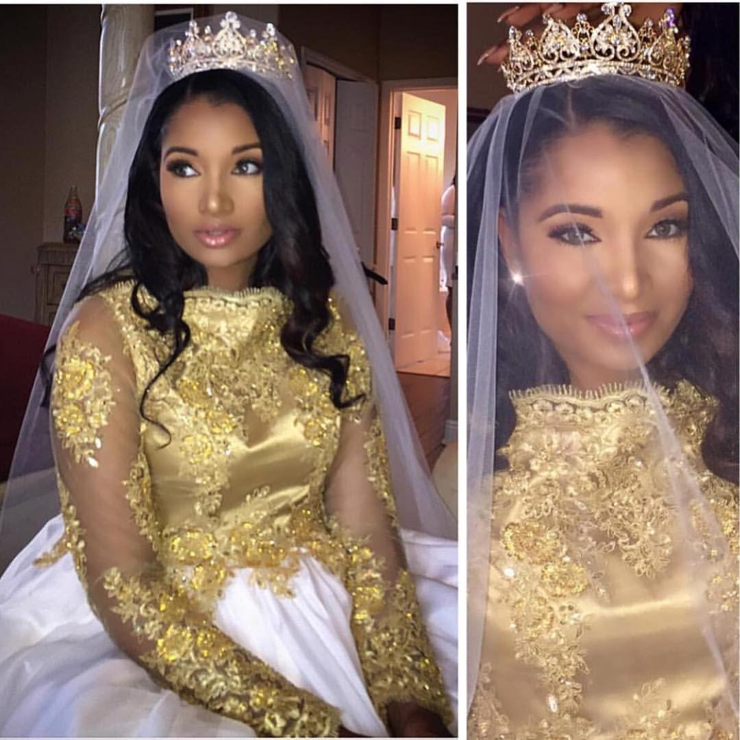 Bride Wedding Crown: Gorgeous #Haitian Bride ! #NigerianWedding Gold Wedding