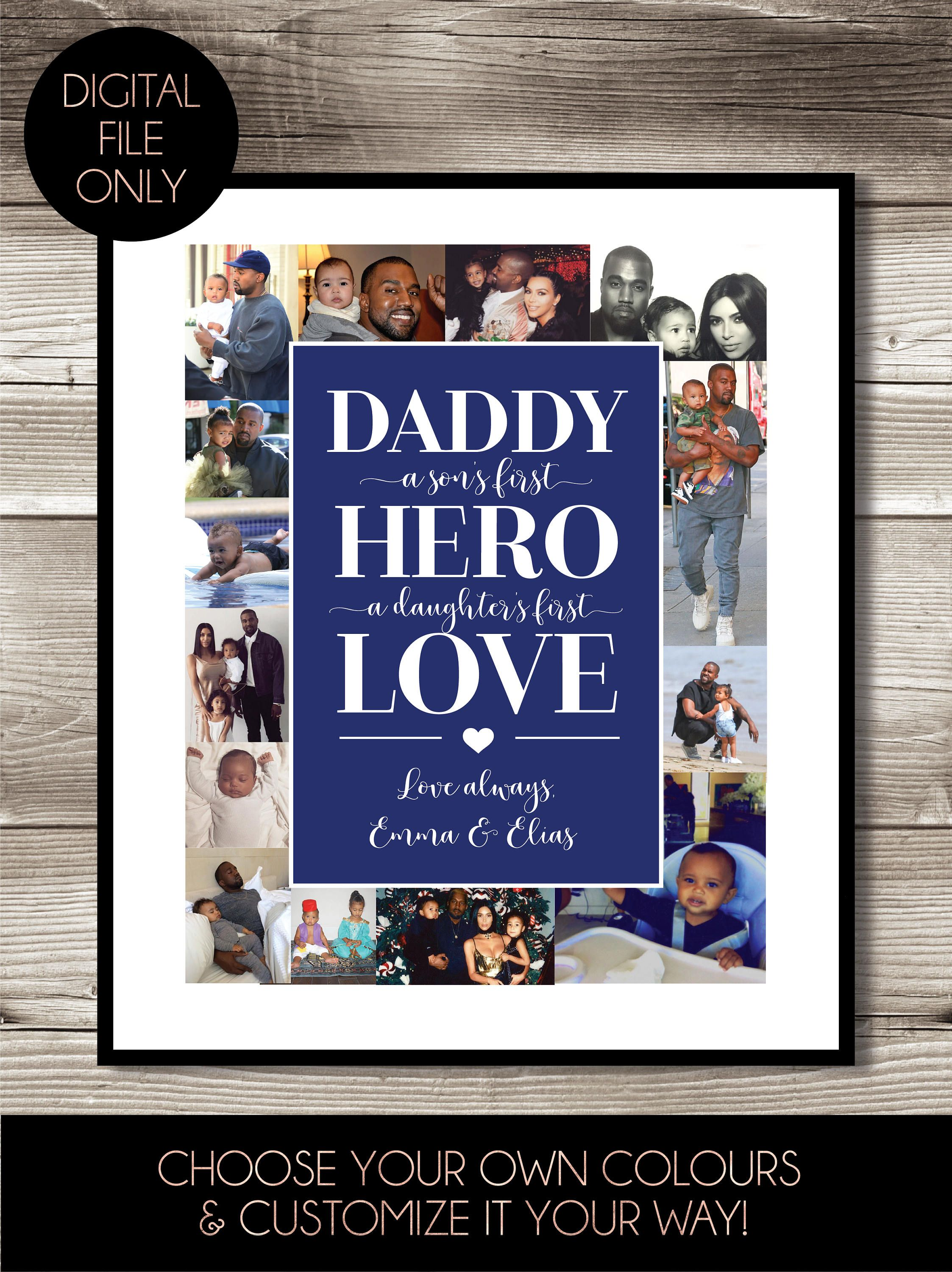 Dad collage digital print gift fathers day present