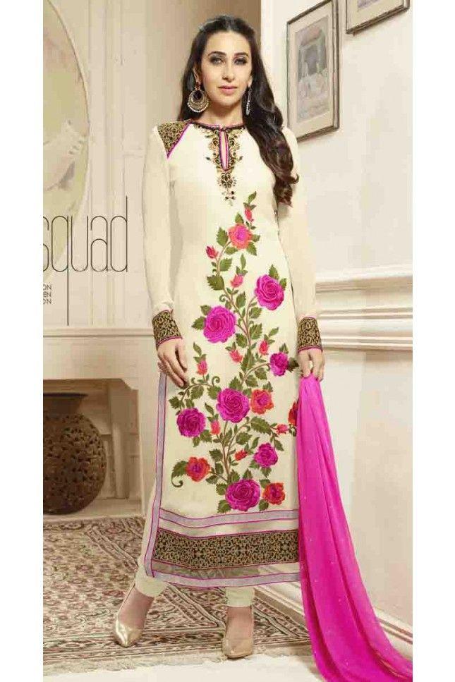001882412e Karishma Kapoor Cream Georgette Straight Salwar Kameez | Karishma ...