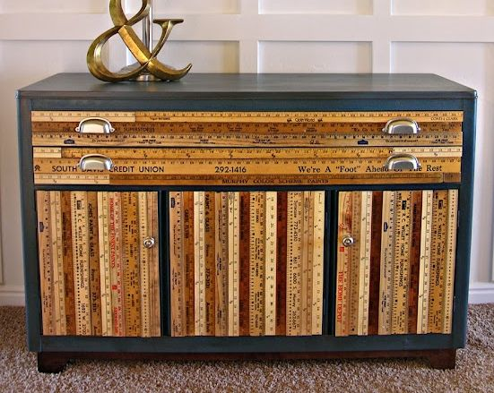 Superior Yardsticks And Rulers Upcycled Recycled Yard Stick Buffet Furniture Dresser Home Design Ideas
