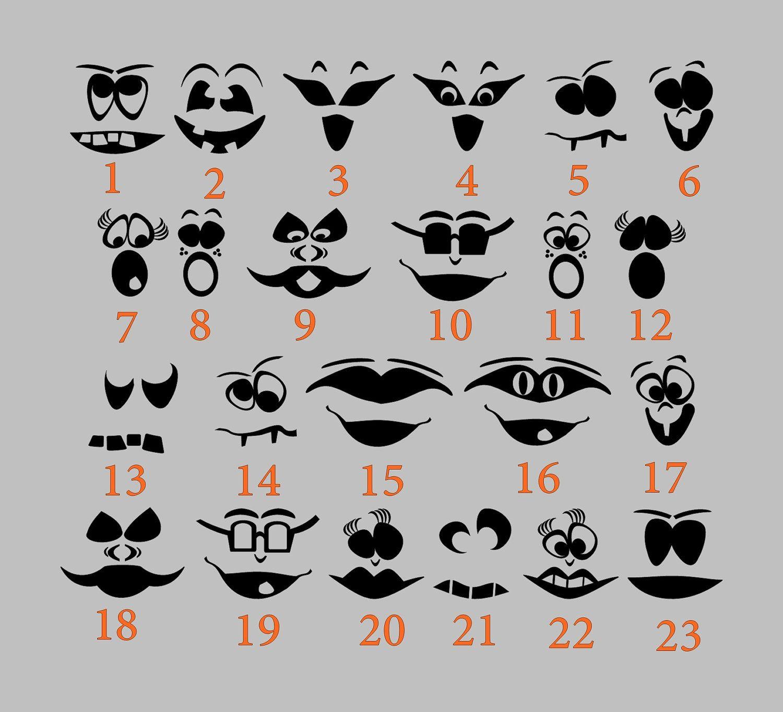 Diy Jack O Lantern Halloween Faces Vinyl Decal 5 00 Via