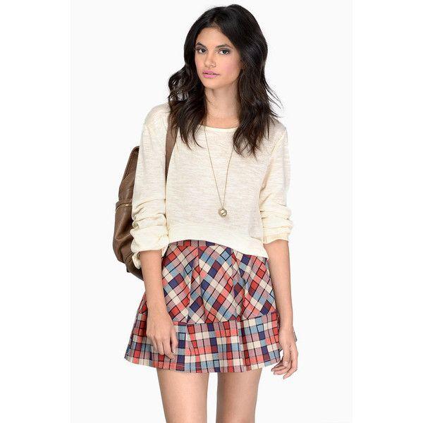 Tobi Prima Pregame Skirt (£7.70) ❤ liked on Polyvore featuring skirts, red multi, red skater skirt, circle skirt, plaid skater skirt, short skirts and red pleated skirt