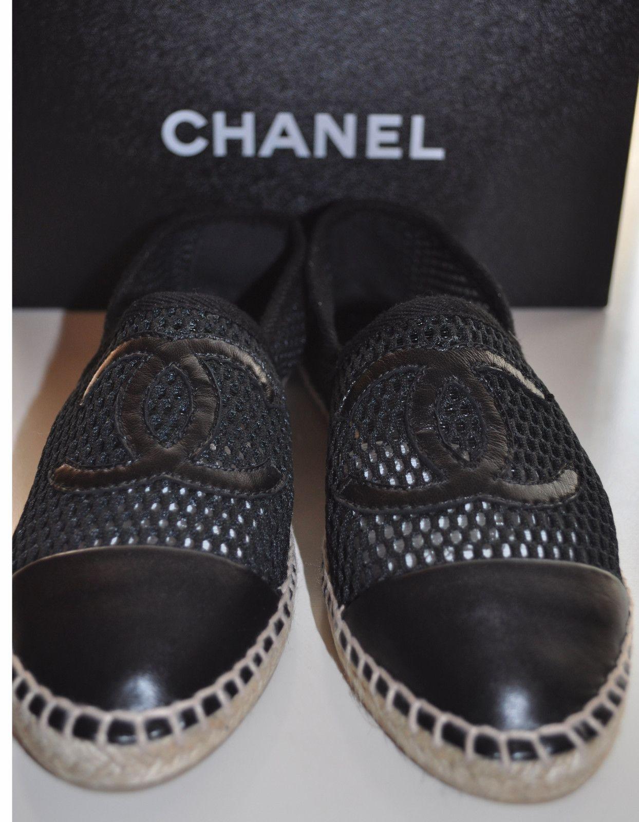 Chanel Espadrilles Black Mesh Leather