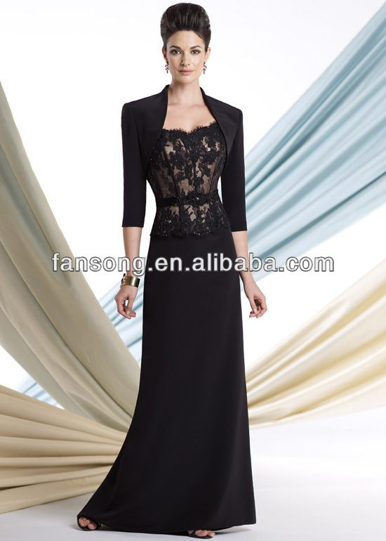 Newest Formal Black Mother Of The Bride Lace Dress With Jackets