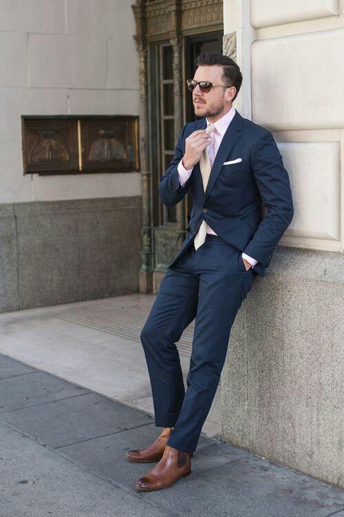 Beige tie..navy suit.   Scott and Joy   Pinterest
