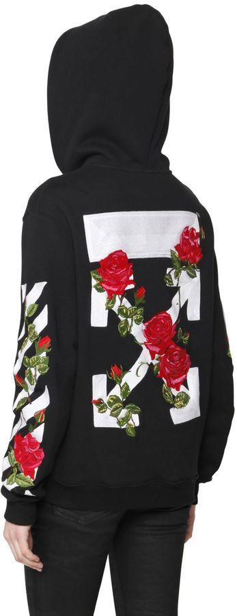1a127c4955b4 Off-White - ROSE EMBROIDERY ZIP-UP COTTON SWEATSHIRT