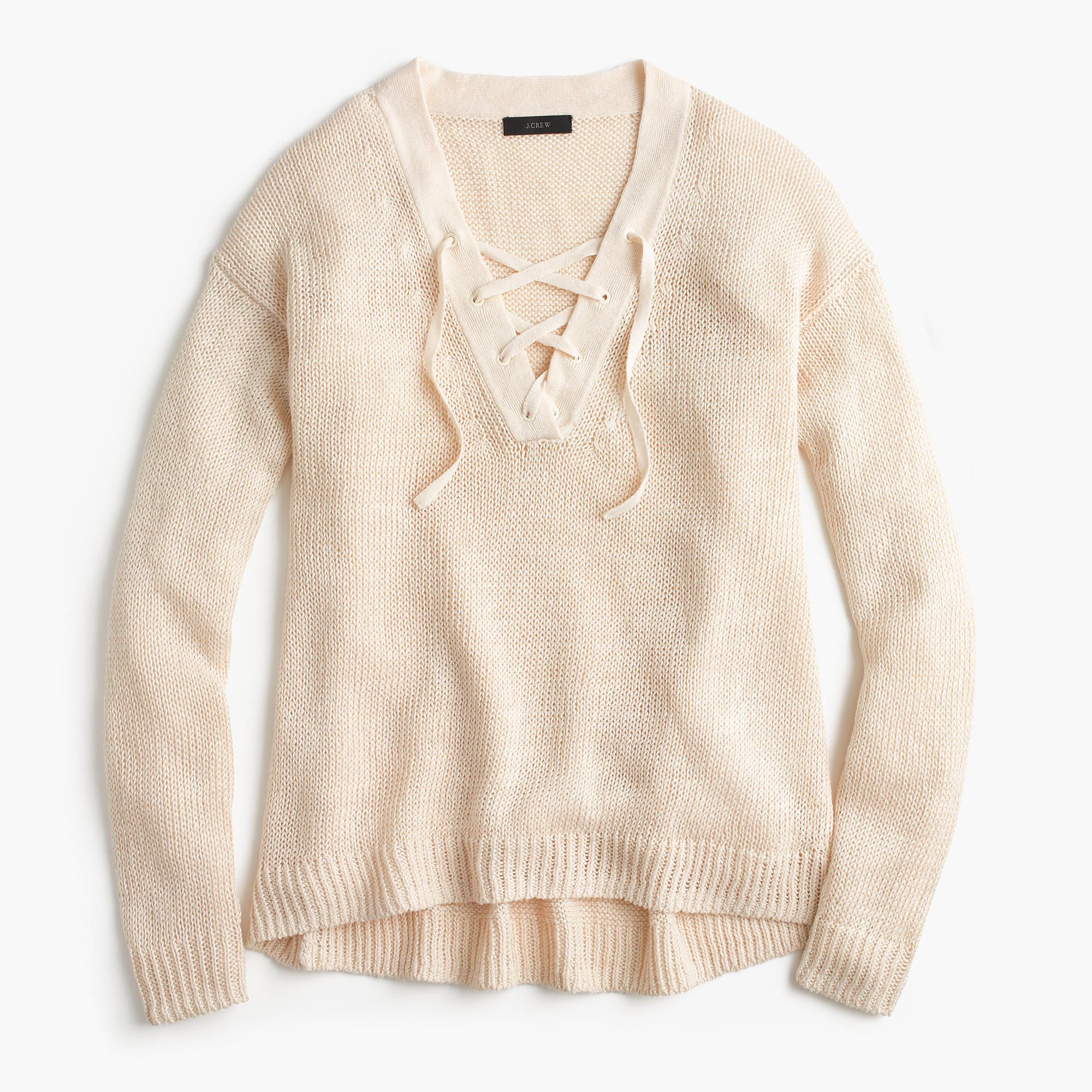 A lighter-weight linen sweater with a lace-up neckline is our ...