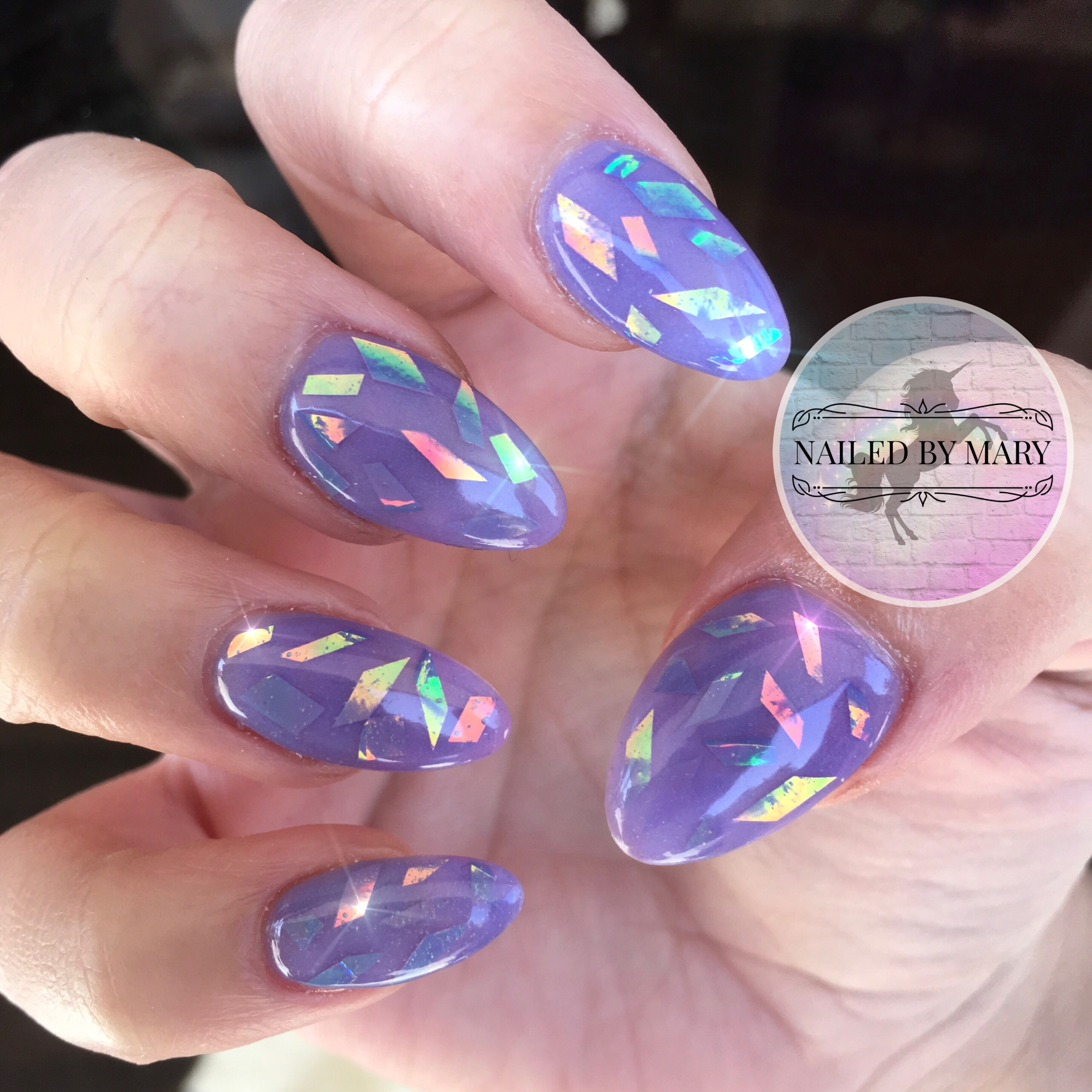 Periwinkle holographic glass film OceanNailSupply acrylic purple ...