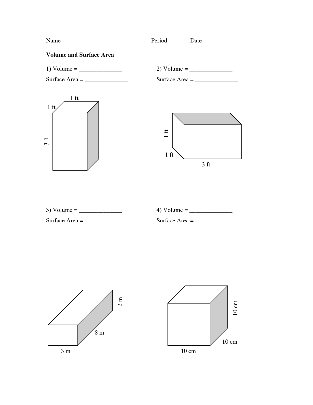 volume and surface area The surface area has two parts: the area of the base (the base area), and the area of the side faces (the lateral area) for base area : it depends on the shape, there are different formulas for triangle, square, etc.