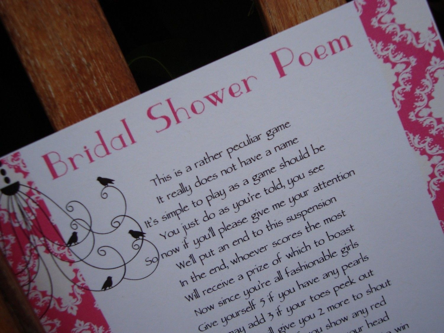 Bridal shower game printable The Peculiar Game