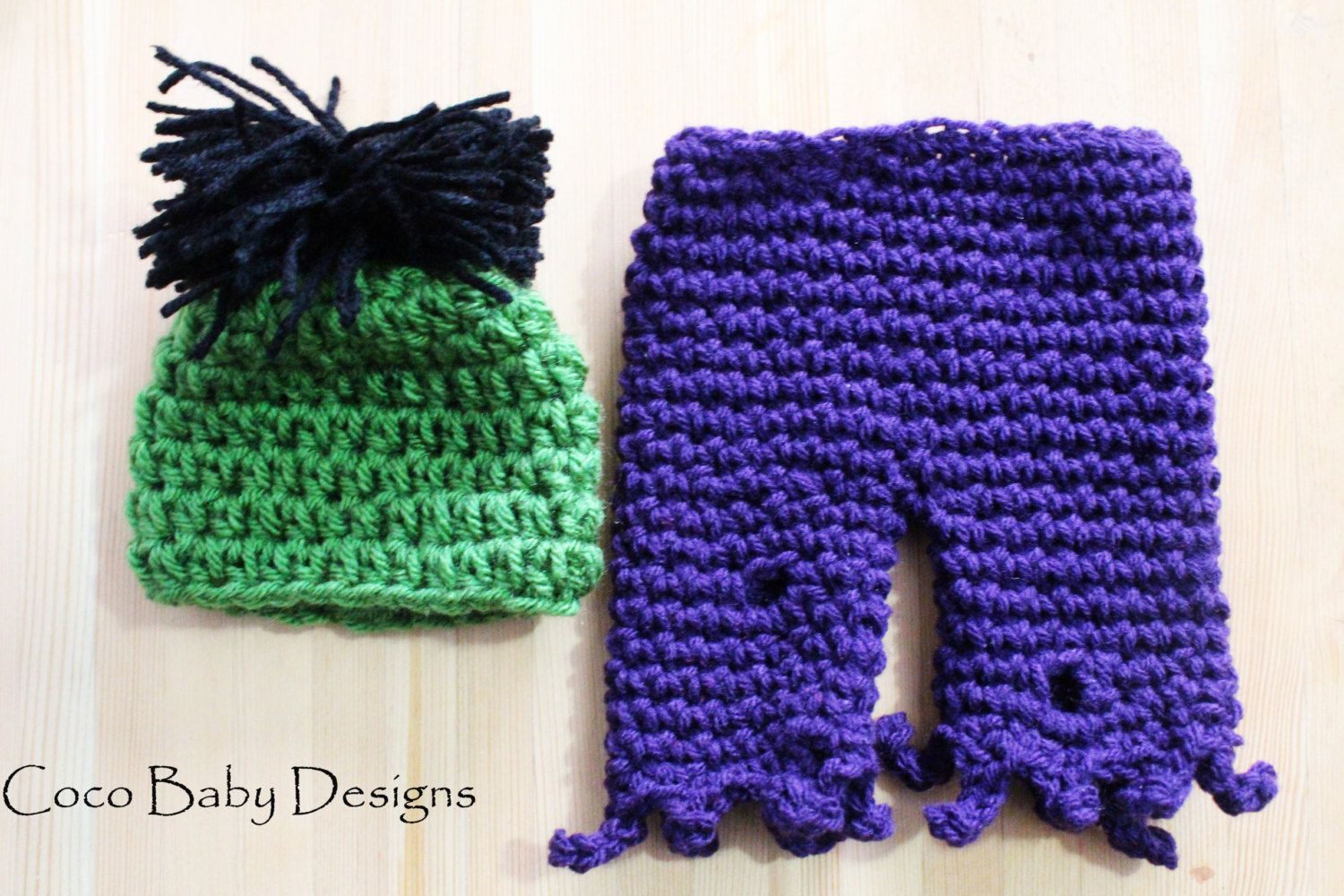 Crochet Baby Hulk Monster Hat and Pant Set by CocoBabyDesigns ...