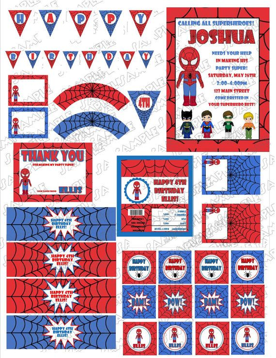 Superhero spiderman birthday printable party supplies no for Www uprint com templates