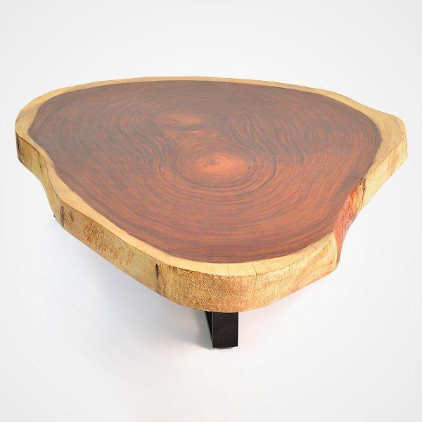 free form wood coffee table  Free Form Wood Coffee Table – Blackened Metal Base – Rotsen ...