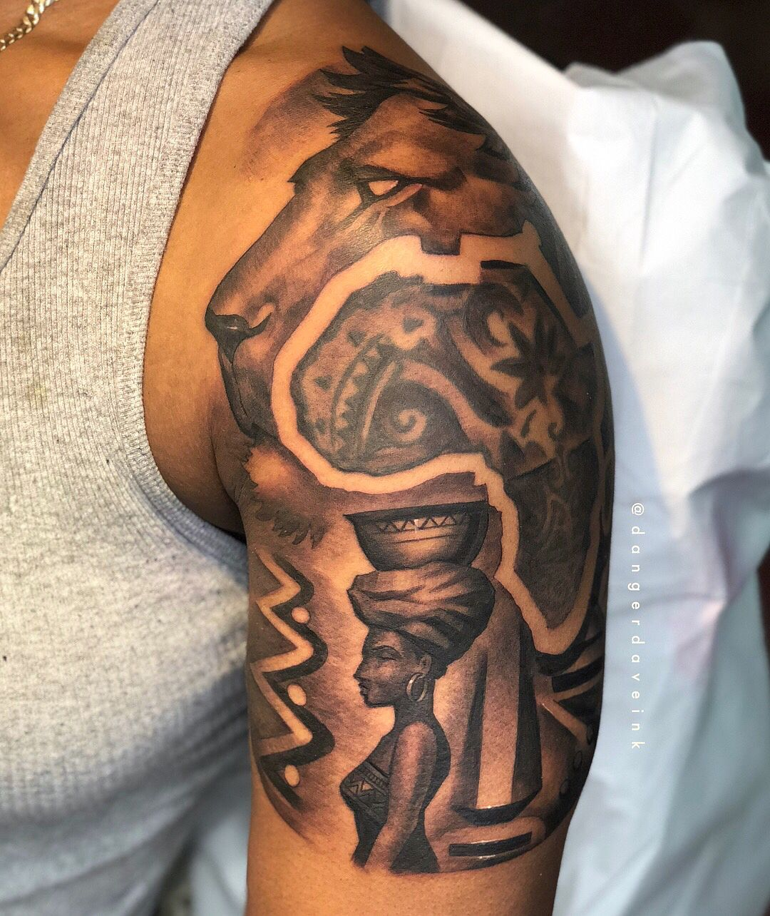 Image May Contain One Or More People African Tattoo African Sleeve Tattoo Egyptian Tattoo Sleeve