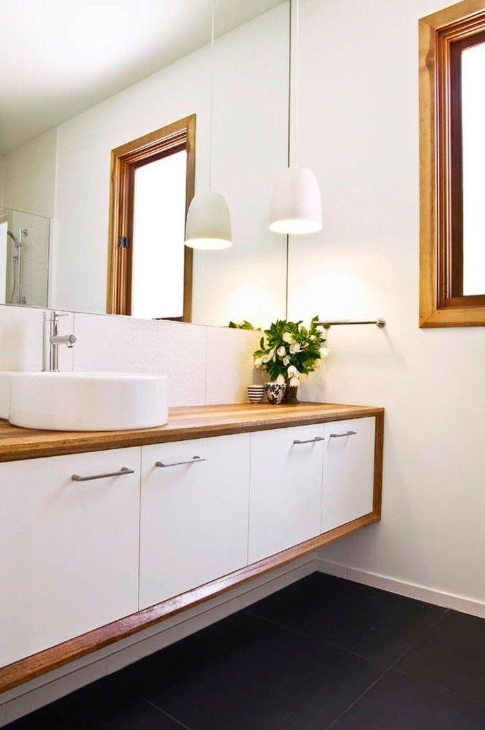 Wandgestaltung Bad Ohne Fliesen Mit Viel Holz Lampe Und Enormen Spiegel |  Einrichtungsideen | Pinterest | Badezimmer