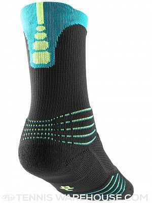 a69bb2949530 Nike Elite Versatility Crew Sock Black Teal Volt