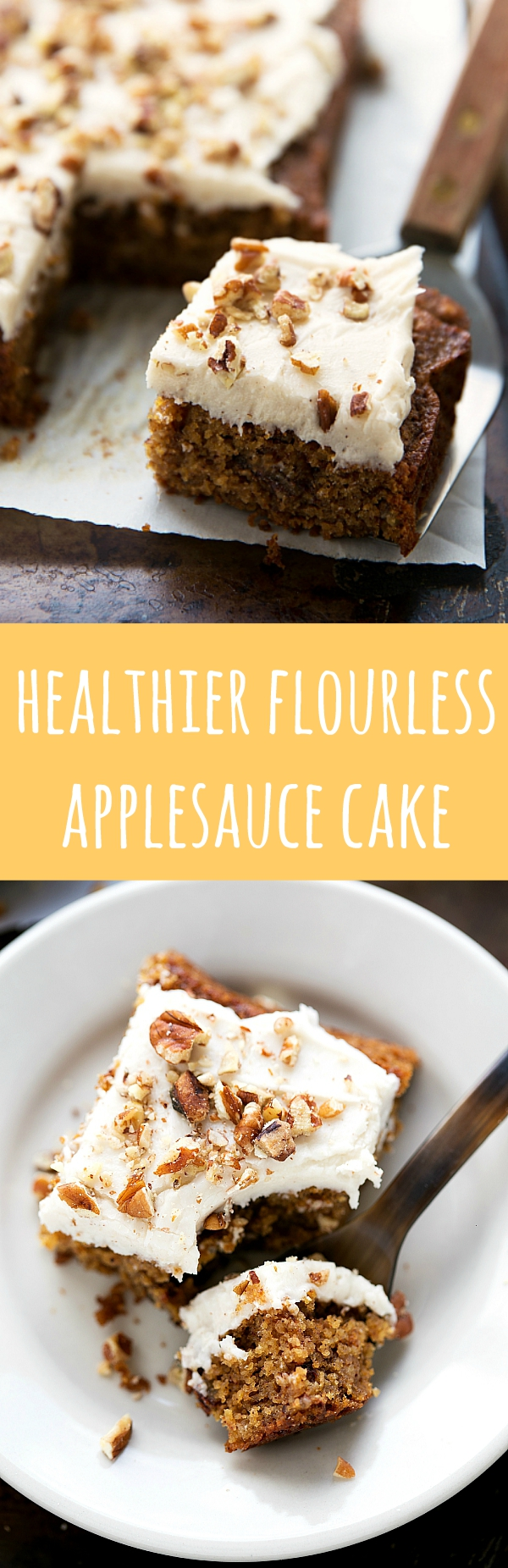Absolutely DELICIOUS Healthier Flourless Applesauce Cake -- only one bowl needed!