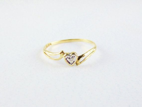 Vintage 10k Gold Heart Ring With Diamond Chip White Gold Accents Gold Heart Ring Heart Ring Heart Shaped Rings
