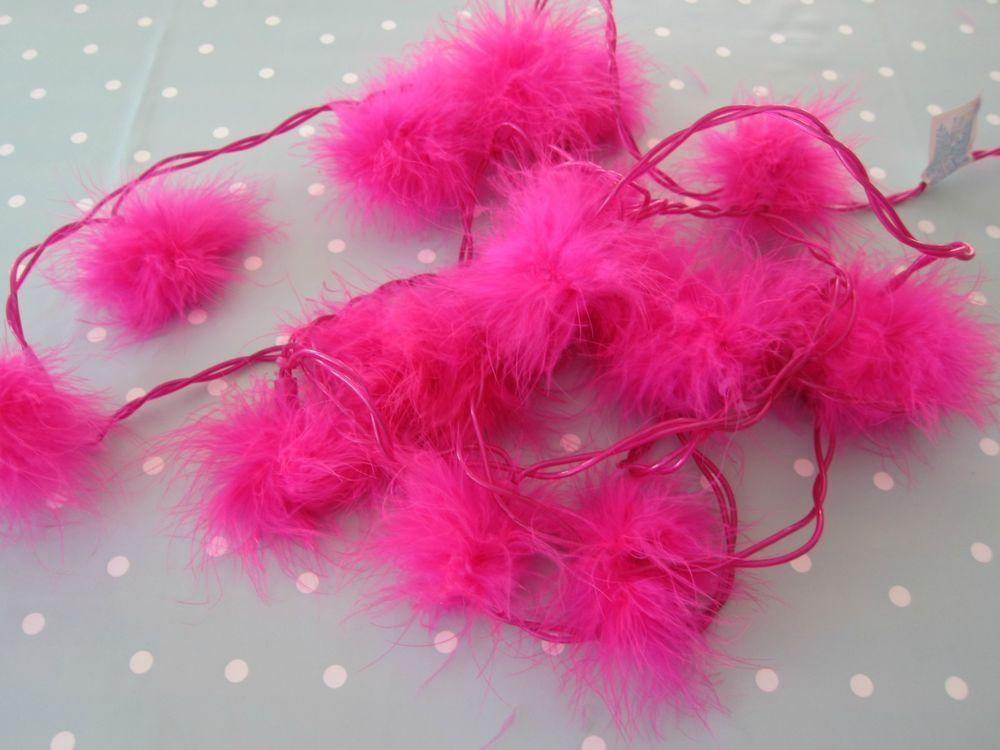 details about fluffy pink fairy lights girls bedroom. Black Bedroom Furniture Sets. Home Design Ideas