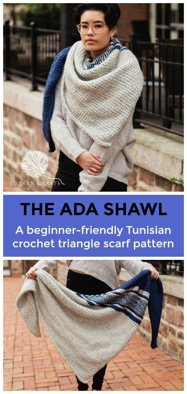 The Ada Shawl, a beginner Tunisian crochet triangle scarf | TL Yarn Crafts