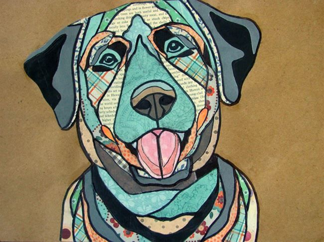 paper collage animal portrait conway high school art