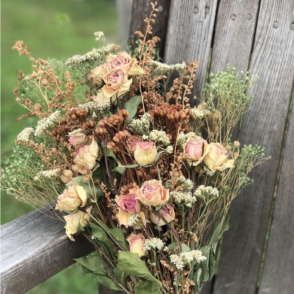Dried Blush Rose Bouquet Meadow Grass Broom Bloom Wedding Or Decor Dried Flower Bouquet Blush Rose Bouquet Dried Flowers