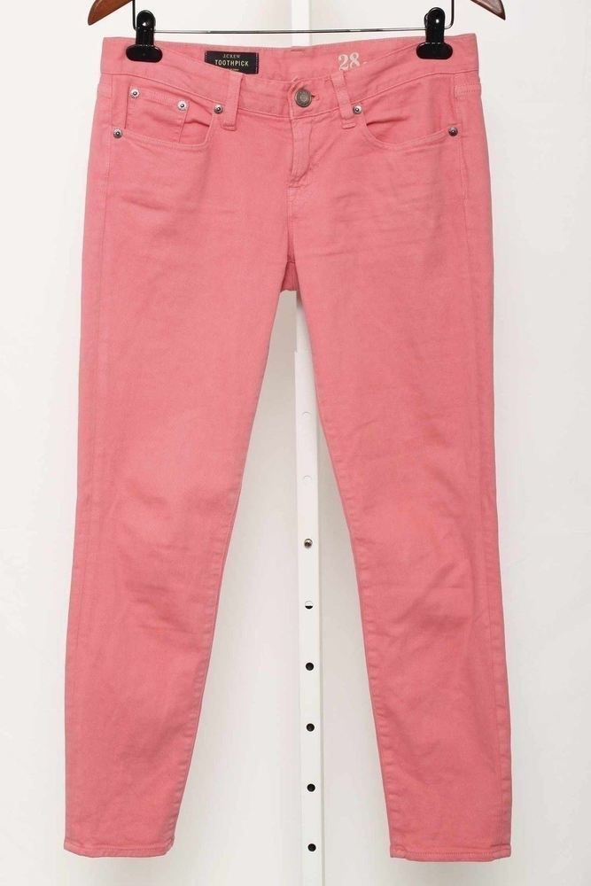 "J.Crew Size 6 ""Toothpick"" Bright Pink Slim Fit Denim Jeans 2378 ST915  | eBay"