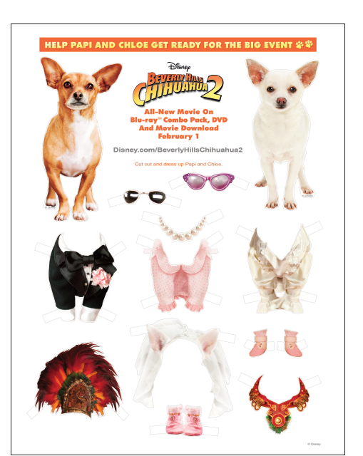 Beverly Hills Chihuahua 2 FREE Fun Activities Here (Free Paper Dolls ...