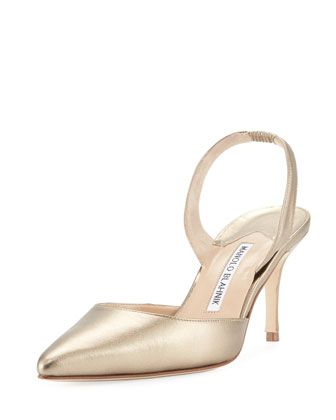 4ce80435838 Manolo Blahnik Carolyne Metallic Leather Mid-Heel Slingback Pump in ...
