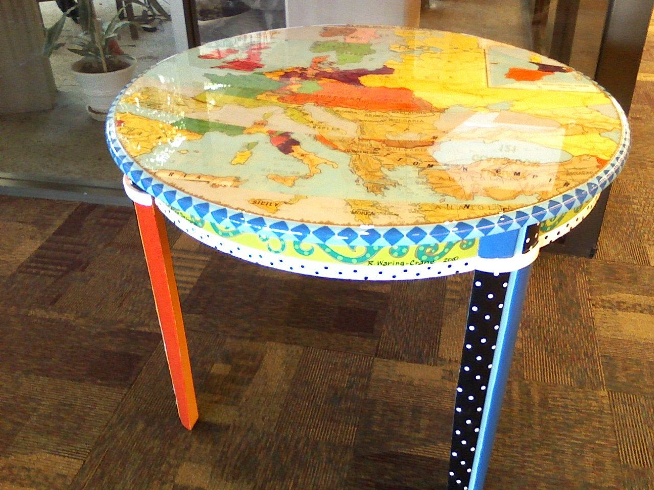 Map Table Features Two Vintage Maps Of Europe And Acrylic Paint On