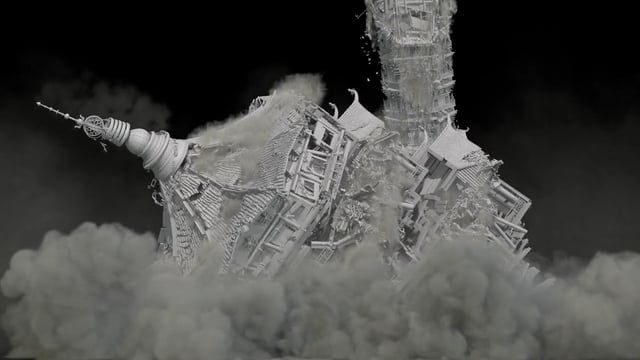 2015 FX TD, Houdini 14  Tower Collapse FX Breakdown  Responsible for Tower Sim & Smoke Sim with Render  Production period : 12 days 250000 pieces