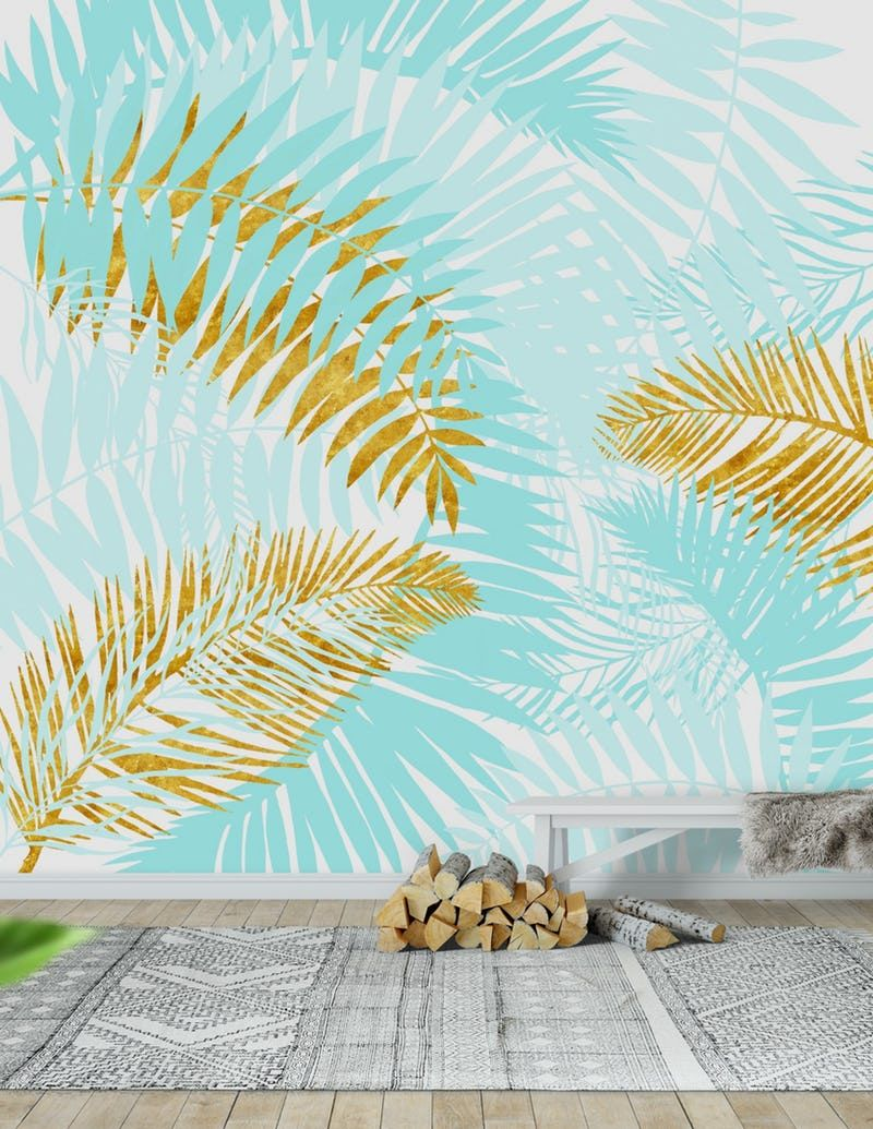 Teal And Gold Palm Leaves Wallpaper Palm Leaf Wallpaper Leaf Wallpaper Wallpaper