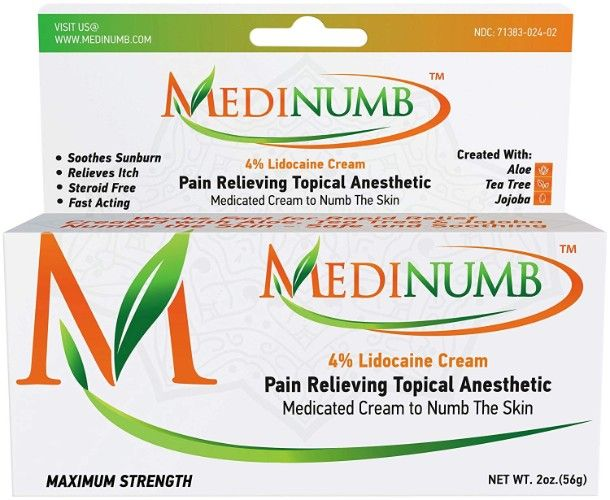 Medinumb Lidocaine Numbing Cream (2oz-56g) Topical Anesthetic Pain ...