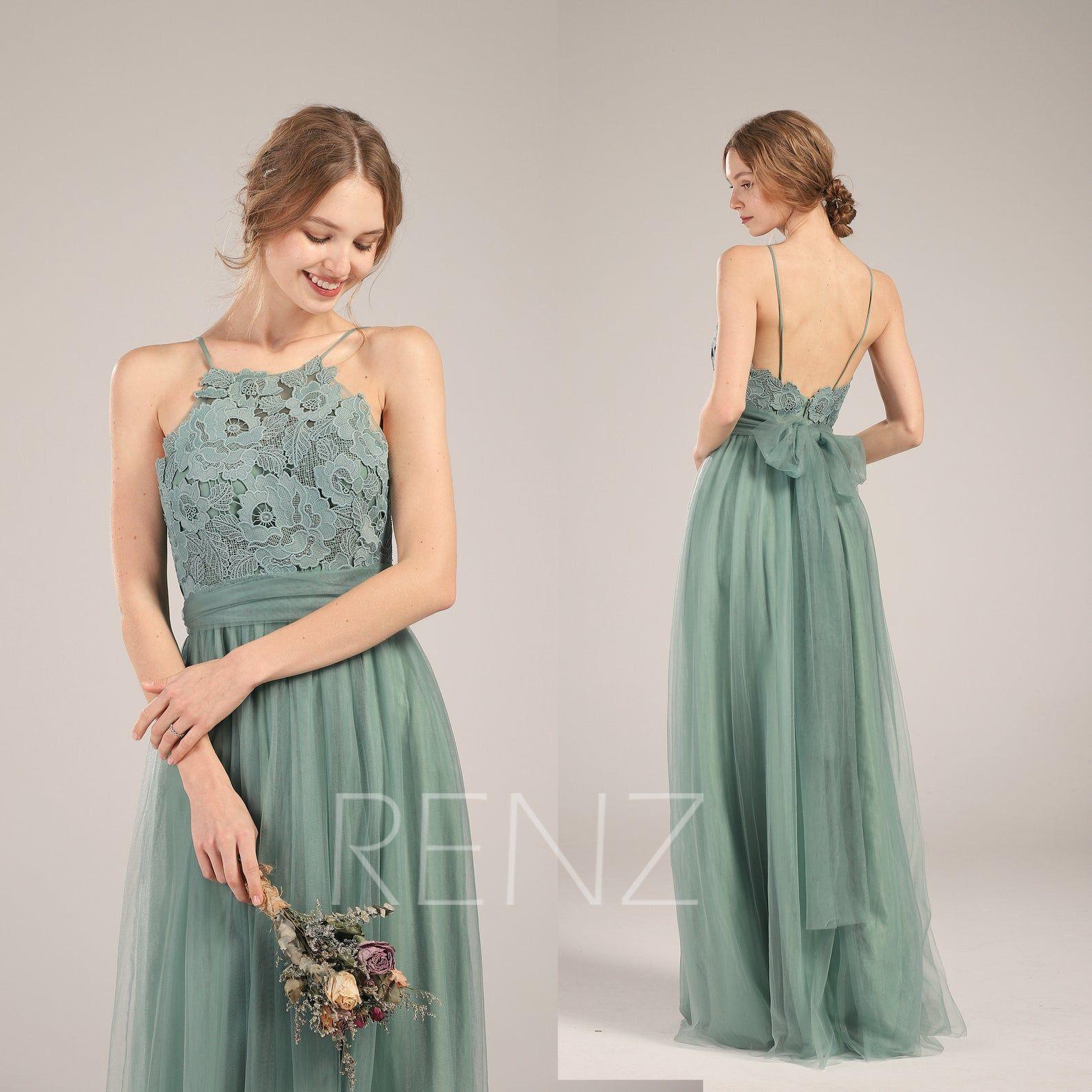 Bridesmaid Dress Dusty Green Tulle Wedding Dress Illusion Lace