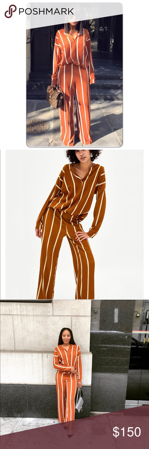 2c195fe5 GORGEOUS NWT ZARA Stripe 2 Piece Set Blouse & Pant New with tags ...