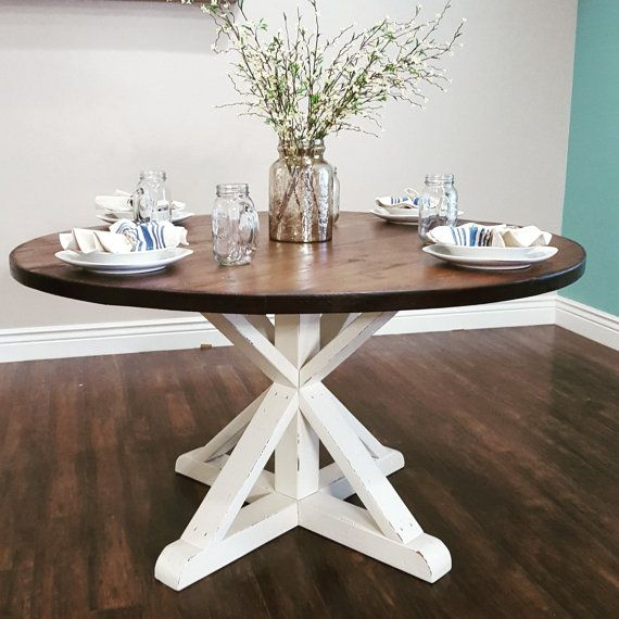Stunning handmade rustic round farmhouse table by for Round dining table centerpiece ideas