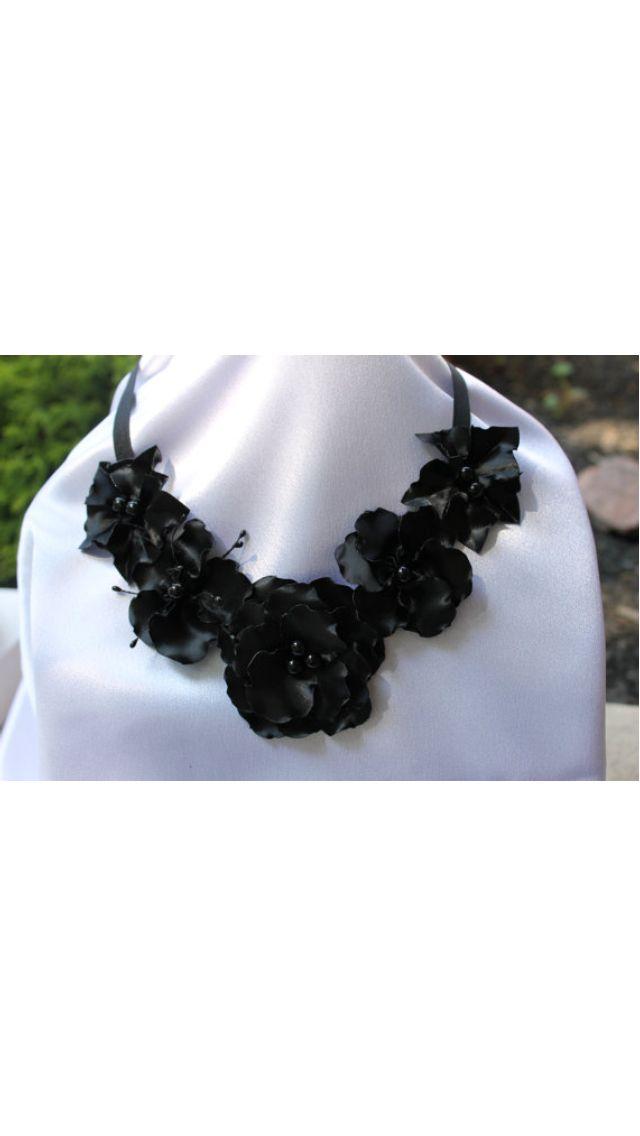 Black satin fabric flower bib necklace. Handmade, fabric flower. Etsy shop:  http://www.etsy.com/shop/HandmadeByAnastasia