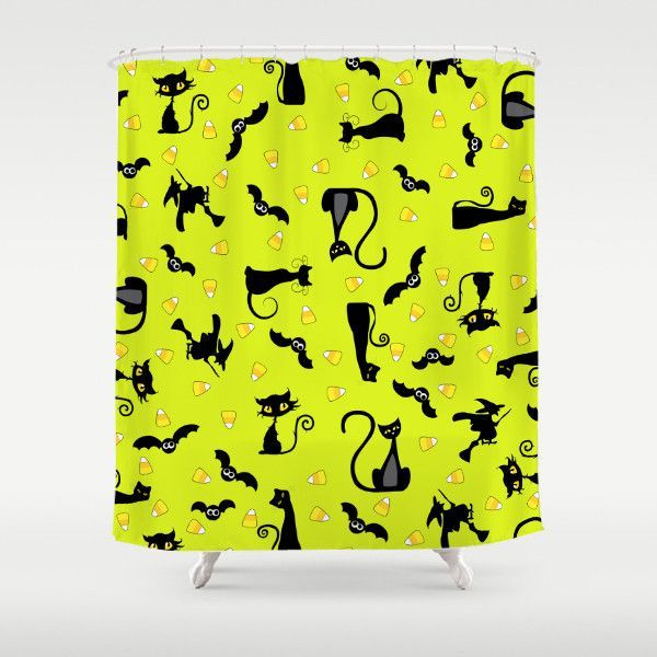 Halloween Collage Cat Bat And Witch Shower Curtain