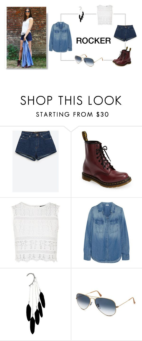"""""""Coachella Outfit Rocker"""" by smartbuyglasses ❤ liked on Polyvore featuring Zara, Dr. Martens, Topshop, Splendid, Ray-Ban, outfit, festival, coachella and festivalstyle"""