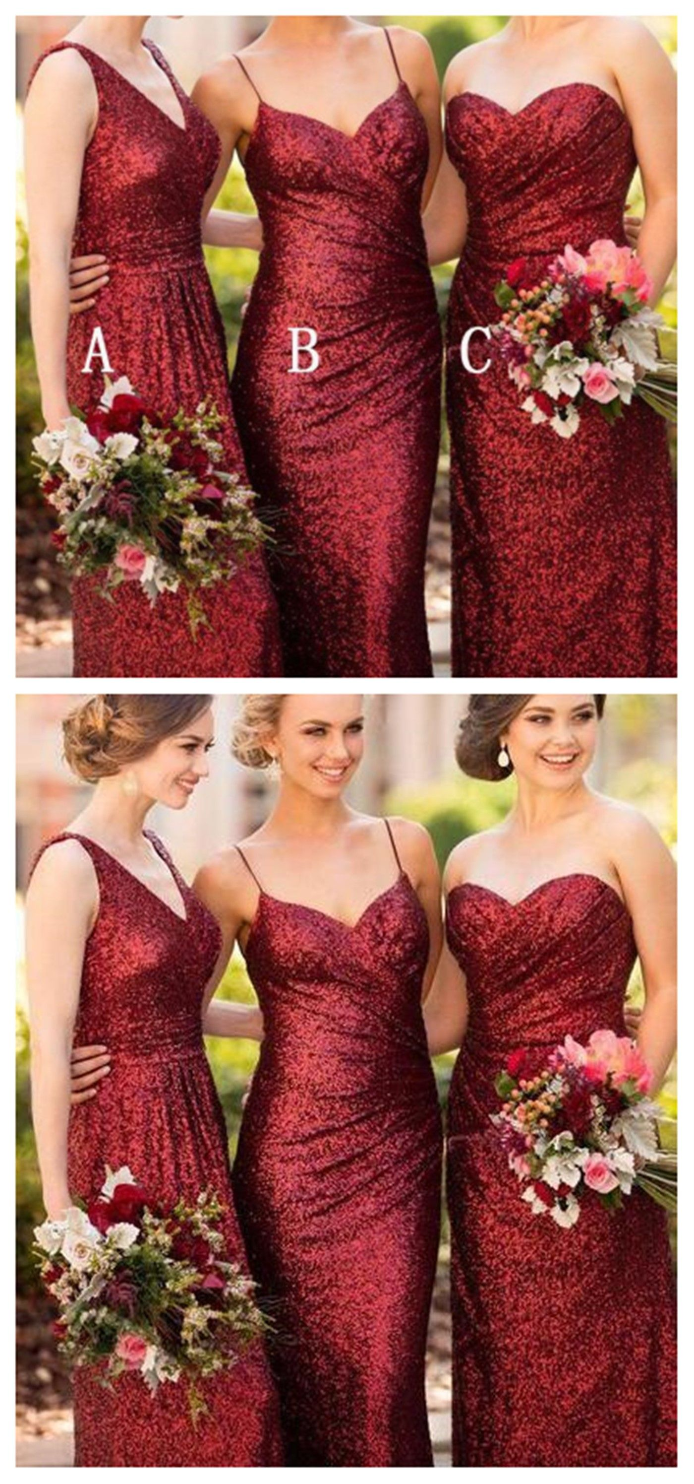 Mismatched long red sequin mermaid bridesmaid dresses cheap custom