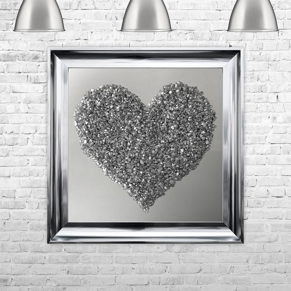 Liquid Wall Art With Swarovski Crystal Silver Heart Sparkle Your
