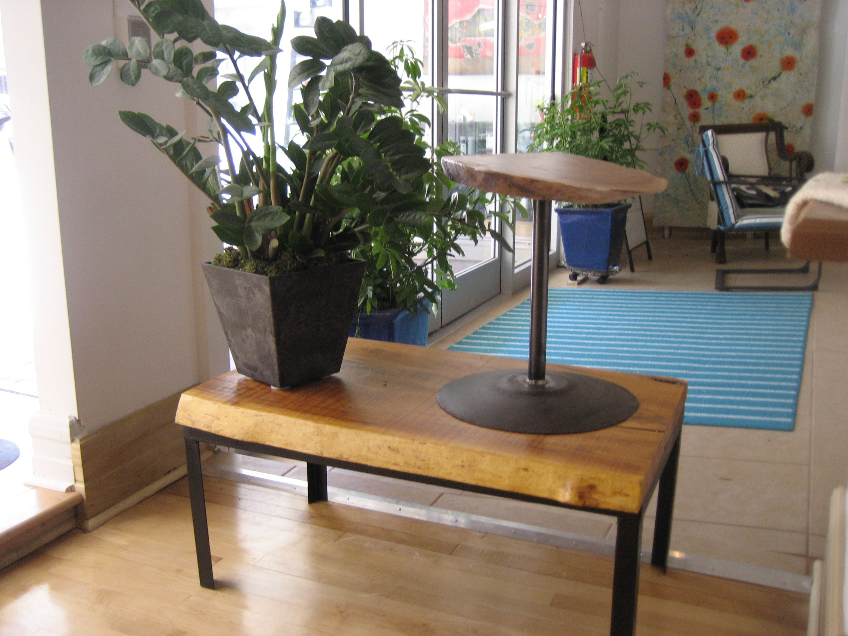 The Coffee Table Is A Live Edge Cherry Slab On Float System Frame Small Side Tractor Disc Blade Welded To An Tail