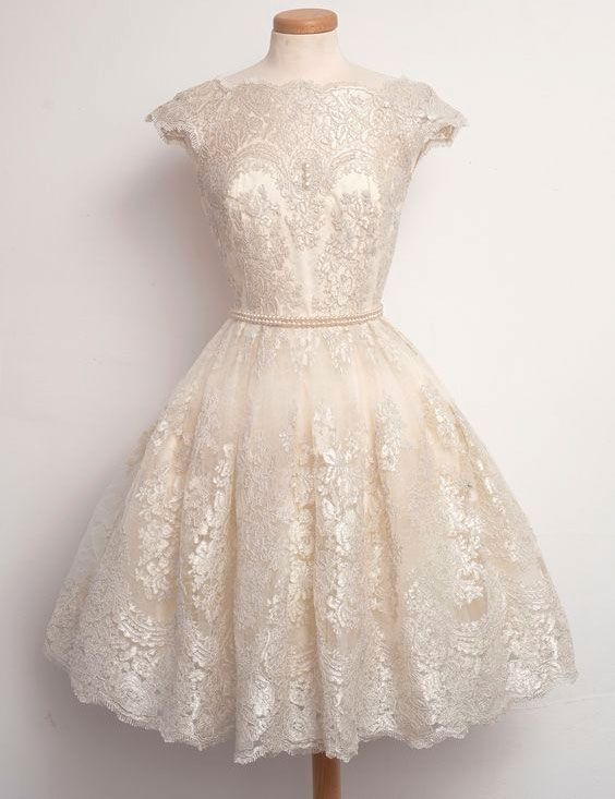 6aa0135239c Chic Bateau A-line Lace Beige Short Homecoming Dress With Pearls ...
