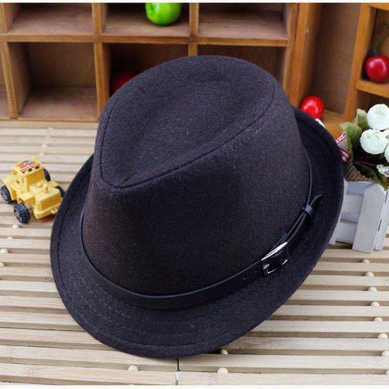 e329de3eed65a Kids Boys Girls Trilby Jazz Cap Wool Blend Snap Brim Flat Top Fedora Hats