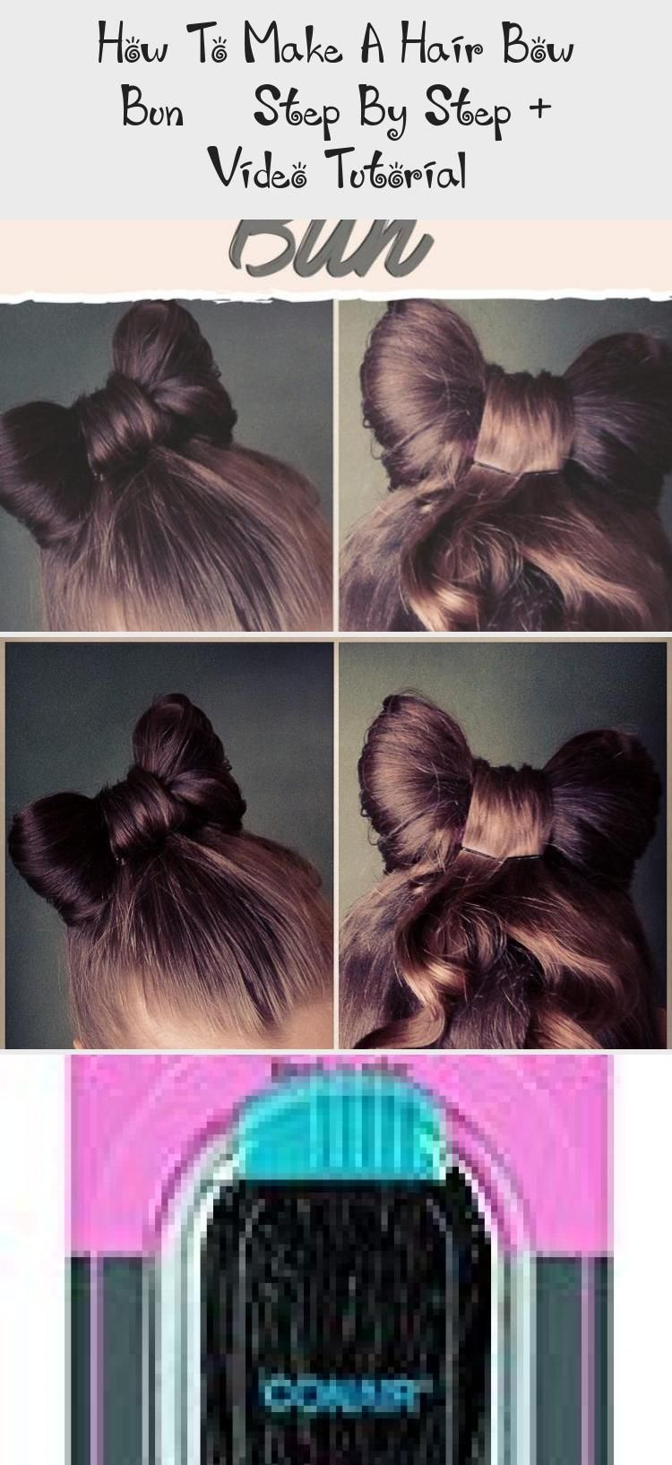 How To Make A Hair Bow Bun Step By Step Video Tutorial Hair Care In 2020 Hair Bow Bun Hair Videos Tutorials Bow Bun