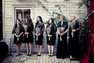 Real wedding: Leslie Rivas and Collin Kelly's fashionable Big Easy affair  Each bridesmaid selected her own black lace dress. The frocks came from Zara or were made by Houston designer Jerri Moore. The bridesmaids wore earrings from Anthropologie, gifted by the bride.  Photo: Arthur Garcia / Select Studios
