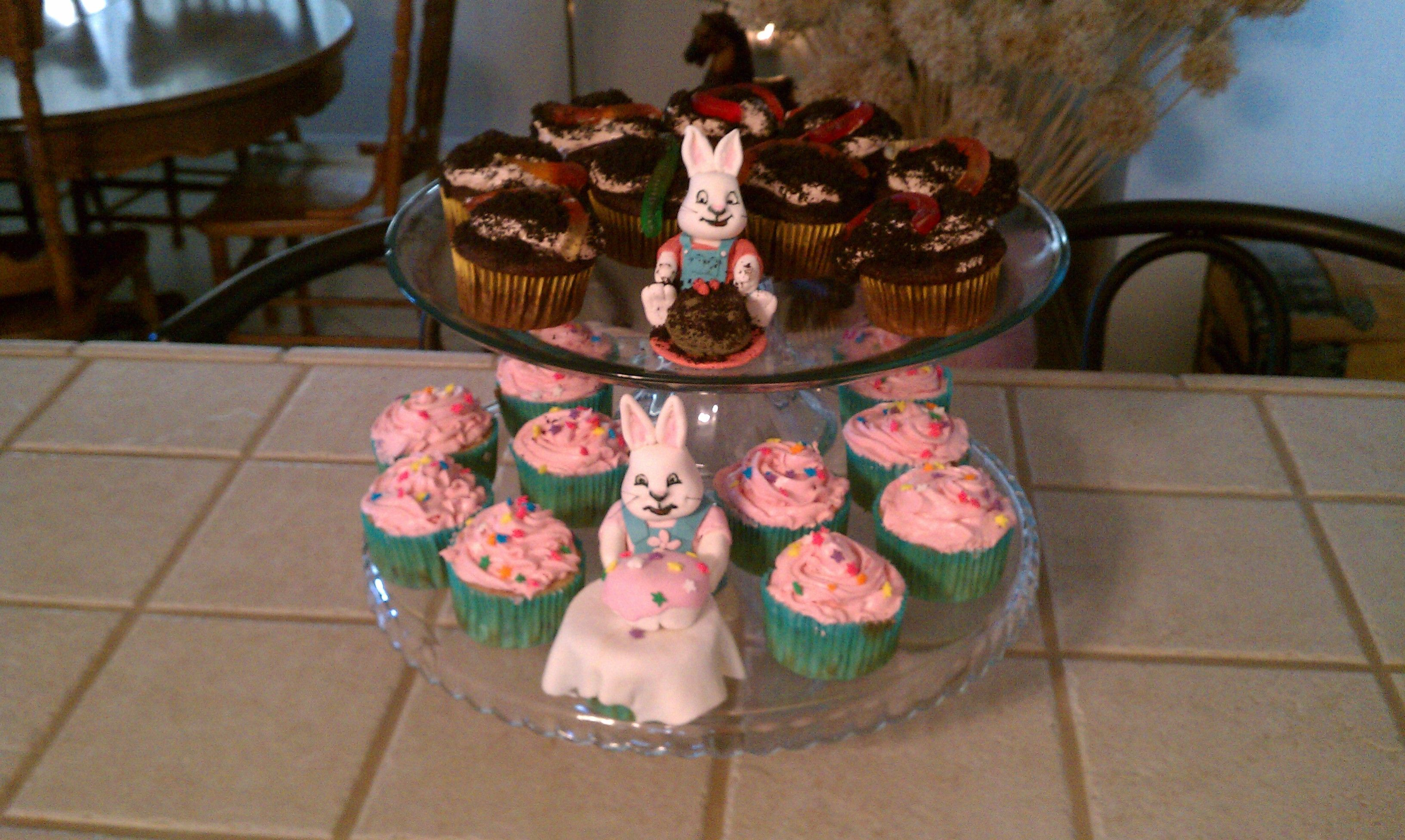 Max and Ruby birthday cupcakes- Max's worm cake and Ruby's cake with  Raspberry fluff frosting