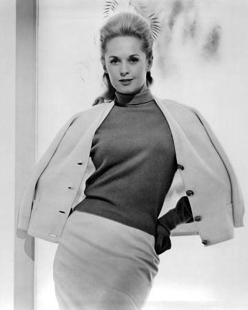 Tippi Hedren, 1964. Amazing sweater suit!