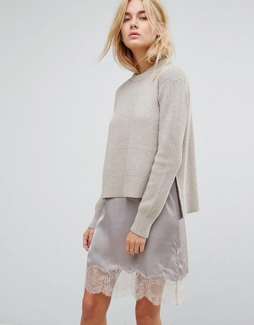 8ea6bd93788 LuxeFinds.com presents --  All Saints Eloise Sweater Dress with Lace Slip -  Beige  -- Found at ASOS (US)